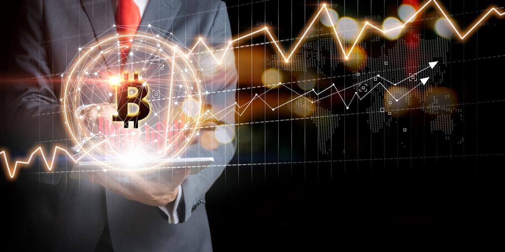 Bitcoin representado de manera holográfica